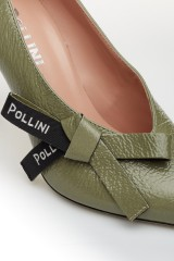 Туфли женские оливковые кожаные с бантом Pollini 3