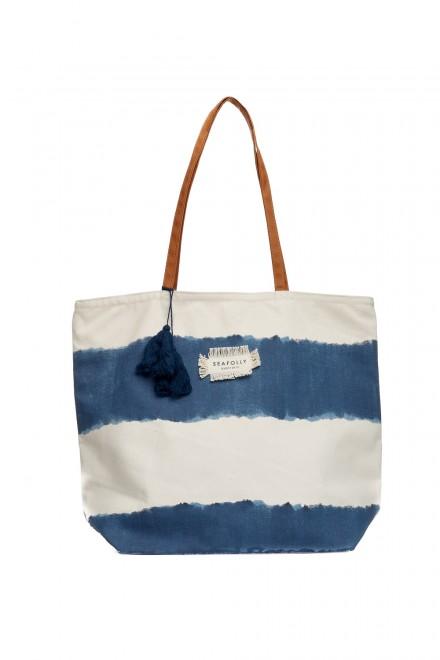 Сумка женская пляжная белая в синие полосы с логотипом Seafolly