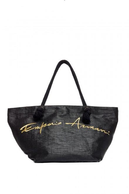 Сумка женская пляжная черная Emporio Armani
