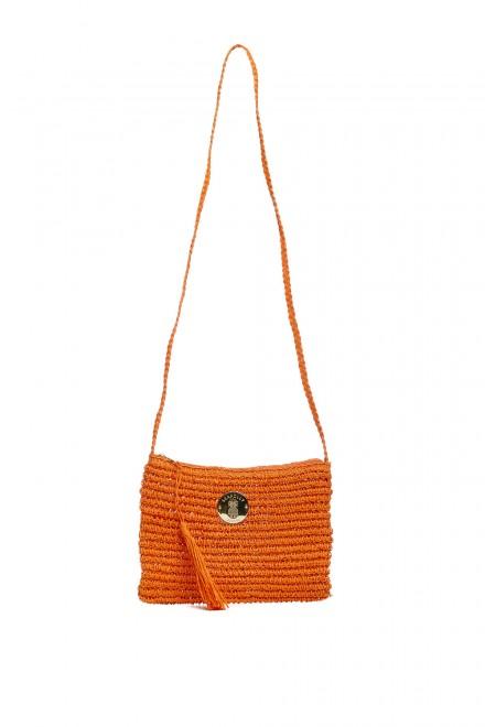 Сумка женская плетеная оранжевого цвета с металлическим логотипом Seafolly