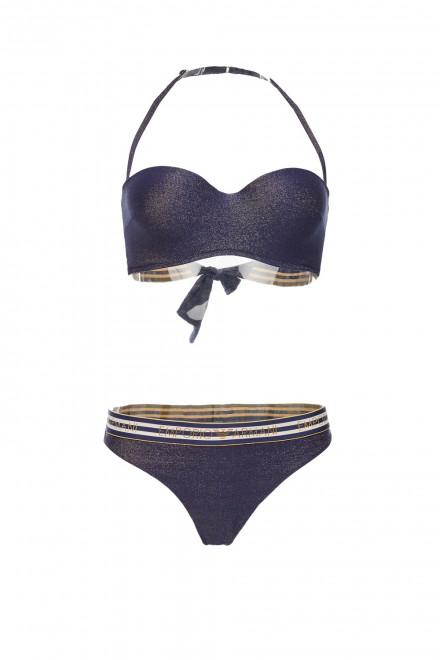 Купальник женский раздельный синий с золотистыми полосками Emporio Armani