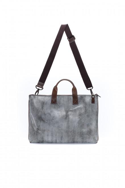 Портфель мужской прямоугольный, серый с потертостями, Terrida