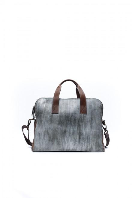 Дорожная сумка кожаная, серая, вместительная, Terrida