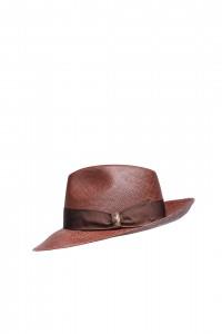 Шляпа мужская коричневого цвета с широкими полями Borsalino