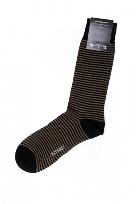 Шкарпетки чоловічі оливкові в смужку Pantherella