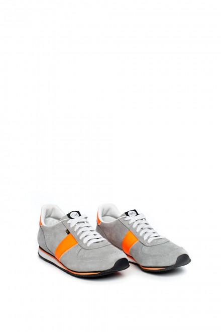 Туфли мужские спортивные серые с оранжевыми вставками Botas