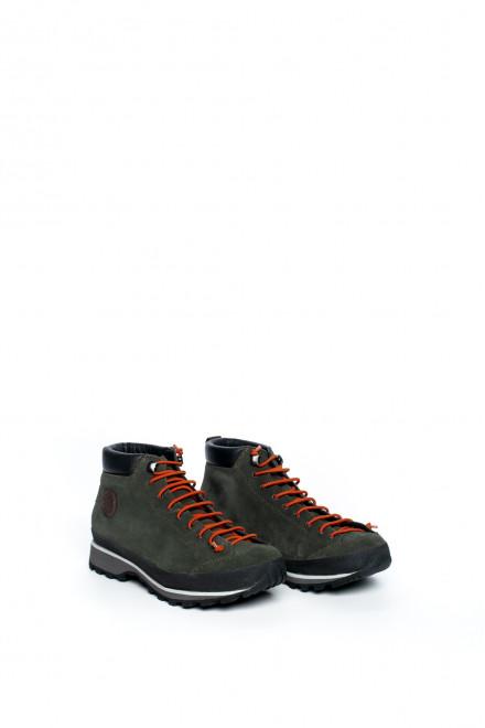 Ботинки женские трекинговые зеленые на шнуровке Lomer