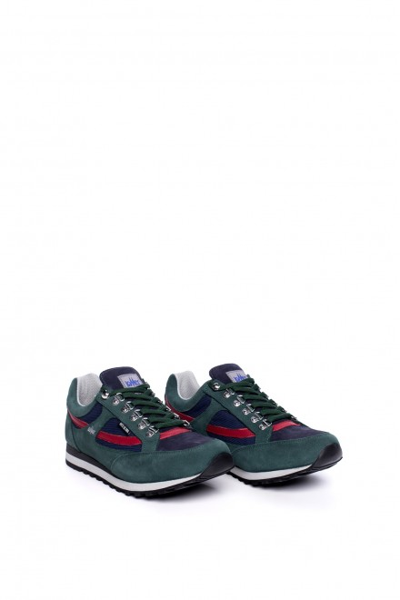 Туфли спортивные мужские зеленые на шнуровке с цветными вставками Lomer