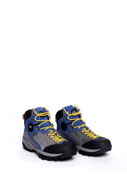 Ботинки мужские высокие серые с синими вставками на шнуровке Lomer