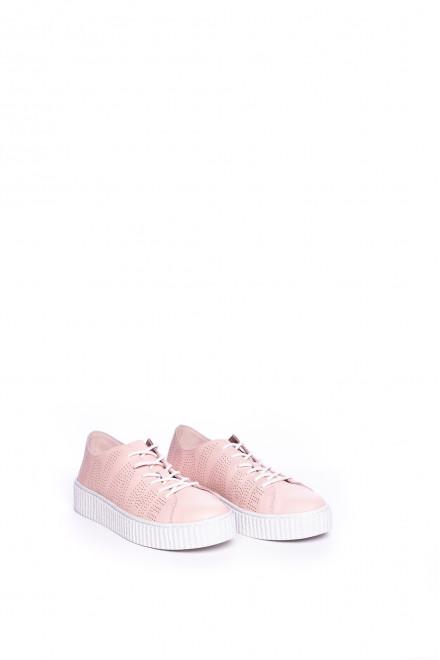 Сникеры женские пудрового цвета перфорированные  с шнурками No Name