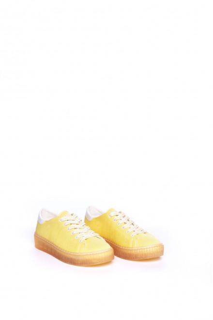 Сникеры женские желтого цвета текстильные на высокой подошве со шнурками No Name