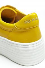 Сникеры женские желтого цвета на высокой подошве No name  3