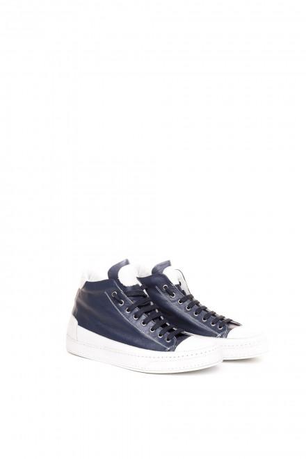 Туфли спортивные мужские высокие темно-синие на шнуровке Candice Cooper