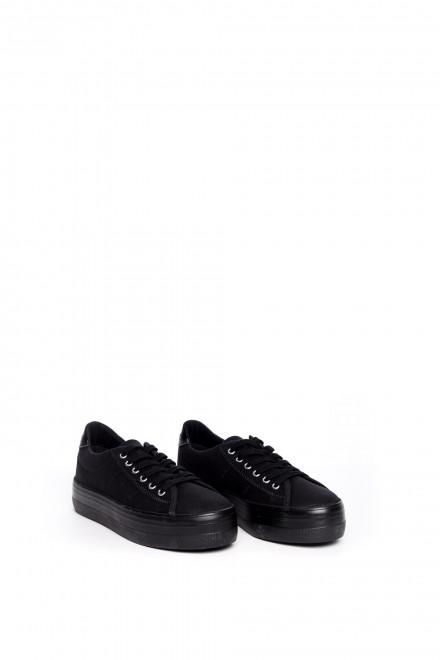 Сникеры женские черного цвета текстильные на высокой подошве с шнурками No Name