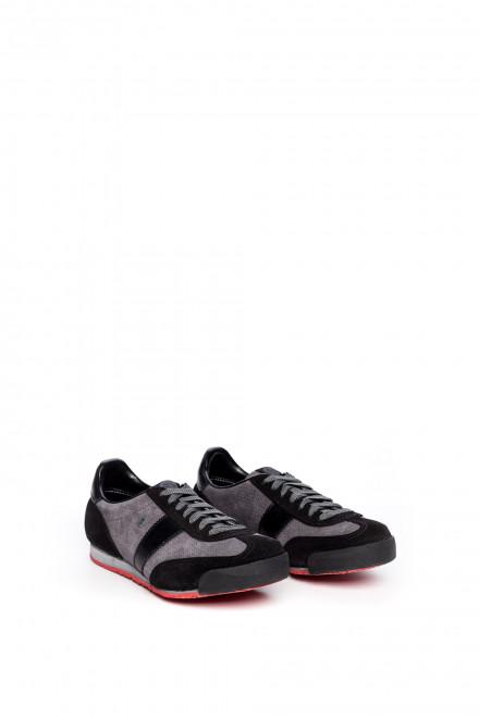 Туфли мужские спортивные черные с серыми вставками Botas