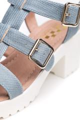 Босоножки женские бирюзового цвета на белой подошве с широким каблуком No name 3