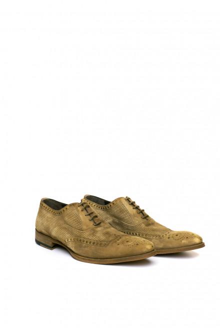 Туфли мужские оксфорды броги бежевые с перфорацией Magnanni