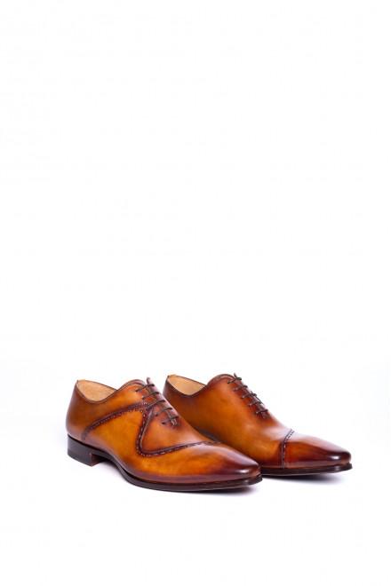 Туфли мужские оксфорды коричневые с боковой вставкой Magnanni