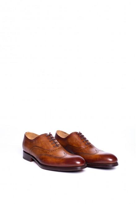 Туфли мужские оксфорды квотер-броги коньячного цвета Magnanni