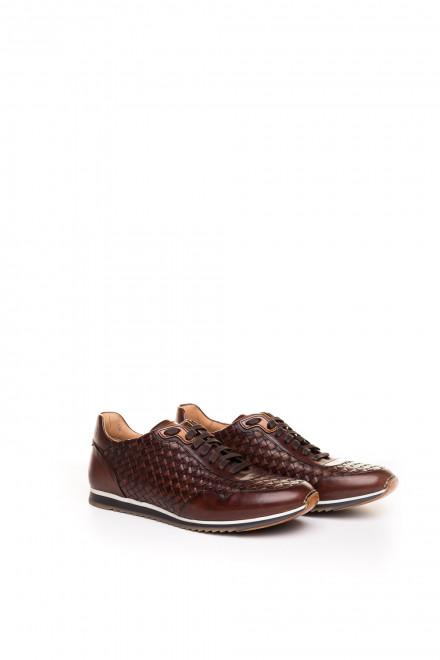 Кроссовки мужские коричневые с плетением intercciato Magnanni