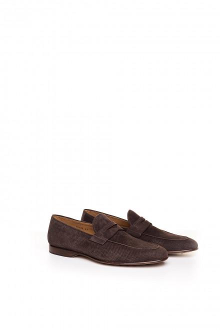 Туфли мужские пенни-лоферы из нубука с перфорацией Magnanni