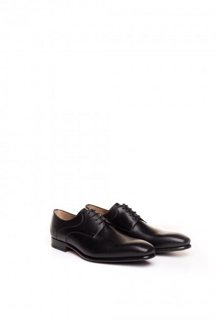 Туфли мужские, классические дерби с перфорацией черные Magnanni