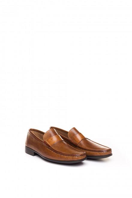 Лоферы кожаные, мужские, коричневые, с перфорацией Magnanni