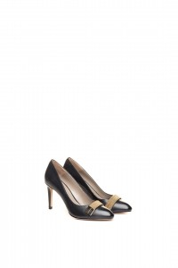 Туфли женские  черные на высоком каблуке с пряжкой Luis Onofre