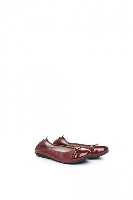 Туфли женские (балетки) бордовые кожаные La Ballerina