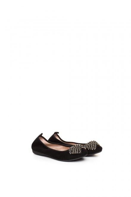 Туфли женские (балетки) черные замшевые с широким бантом La Ballerina
