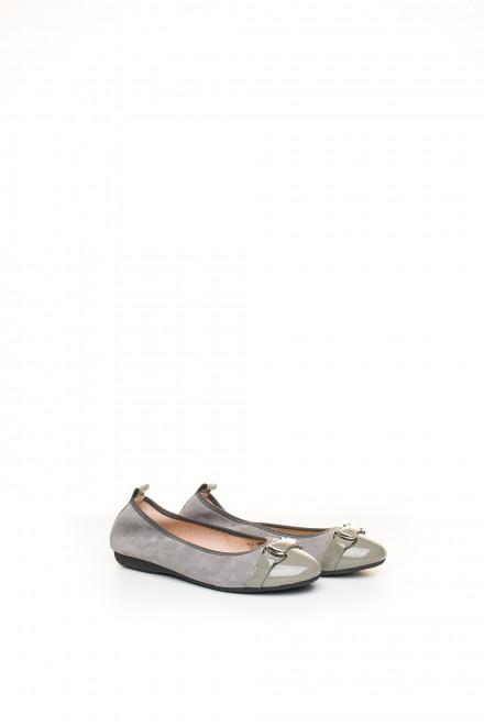 Туфли женские (балетки) кожаные серые с пряжкой La Ballerina