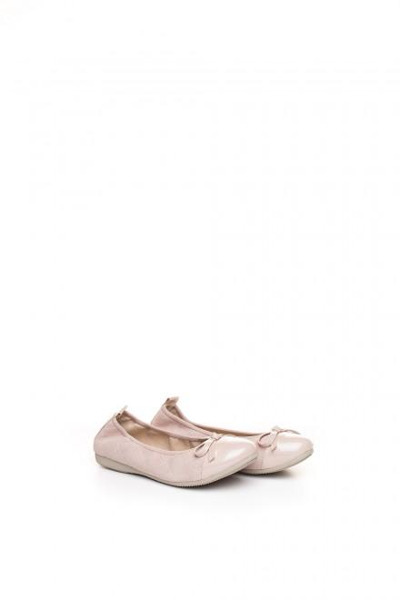 Туфли женские (балетки) с овальным носком и бантом пудровые La Ballerina