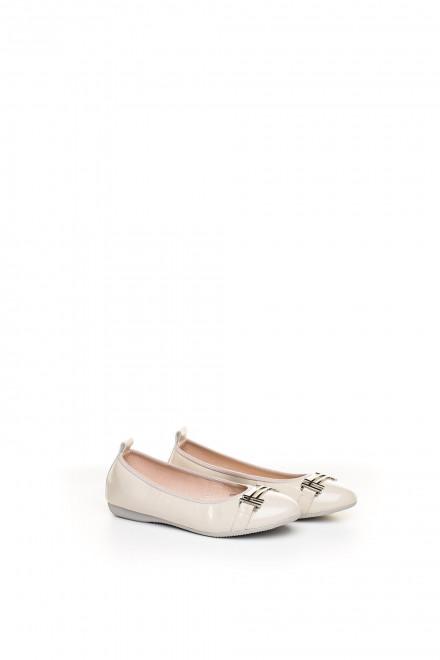 Туфли женские (балетки) светло-розовые из лакированной кожи La Ballerina