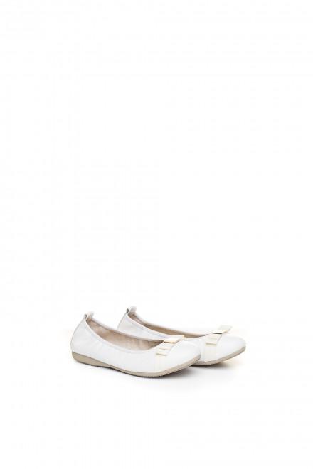 Туфли женские (балетки) белые кожаные на резинке с бантом La Ballerina