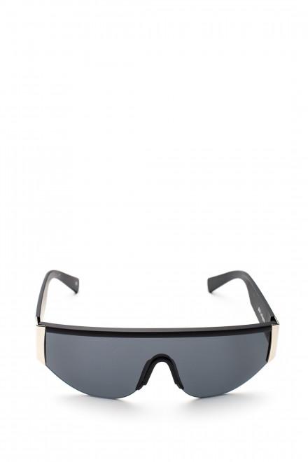 Солнцезащитные очки черные широкие с металлической отделкой Le Specs