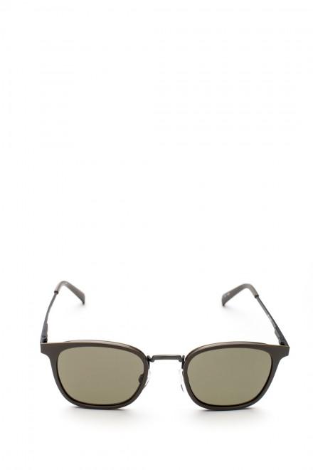 Солнцезащитные очки унисекс в тонкой металлической оправе с зеленым градиентом Le Specs