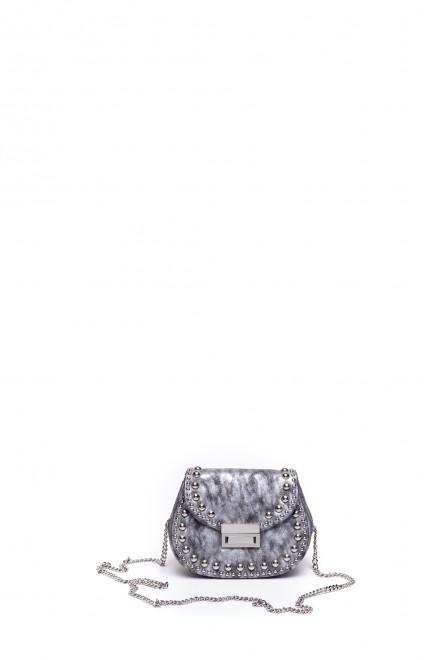 Сумка женская тёмно-серая с цепочным ремешком через плечо и металлическим декором