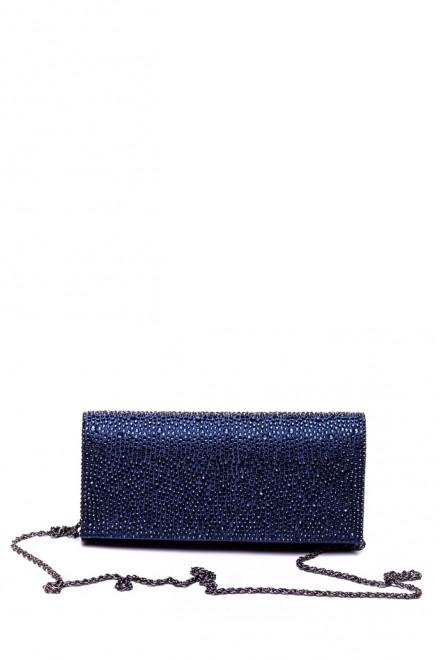 Сумка (клатч) женская темно-синяя тканевая на тонкой цепочке Scheilan