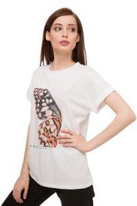 Футболка женская с коротким рукавом и фото- принтом крыла бабочки белого цвета UNQ