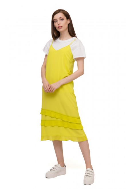 Платье женское миди желтое на бретелях Le Coeur