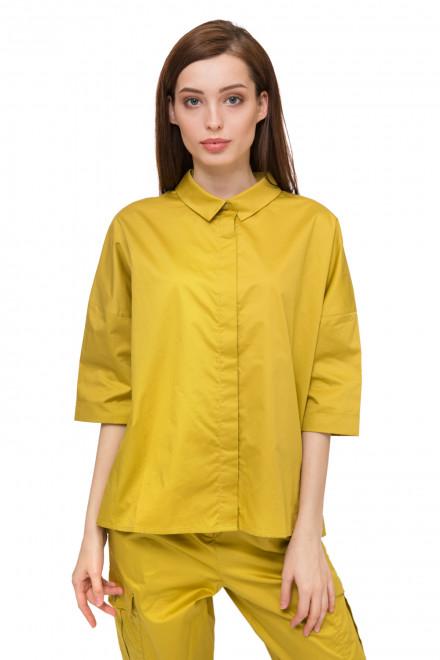 Блуза женская с коротким рукавом горчичного цвета UNQ