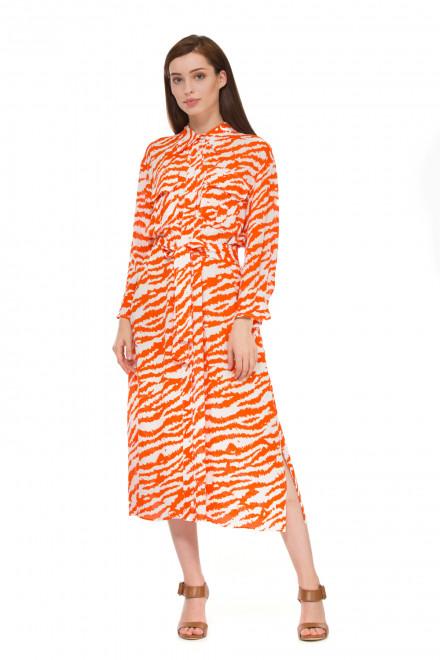 Платье женское с длинным рукавом миди  в яркий принт с разрезами по бокам Sfizio