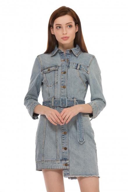 Платье женское джинсовое короткое с рукавом три четверти и ассиметричным низом Miss Sixty