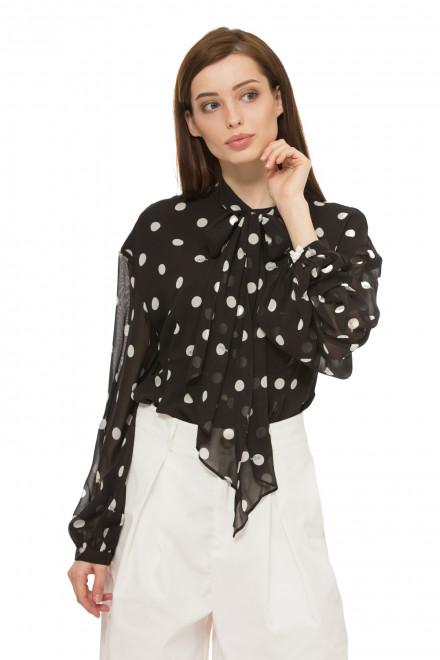 Блуза женская черная в белый горох с длинным рукавом  Miss sixty