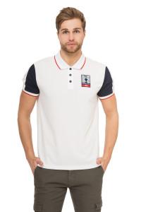 Футболка-поло мужская белая с синими рукавами и красной окантовкой North Sails X Prada