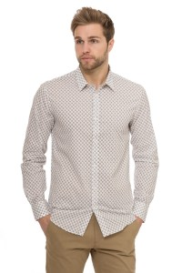 Рубашка мужская белая с геометрическим принтом Antony Morato