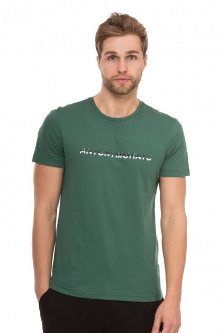Футболка мужская зеленая с надписью Antony Morato