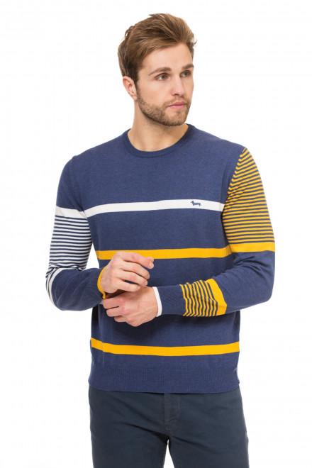 Пуловер мужской светло-синий в плоску с логотипом Harmont & Blaine