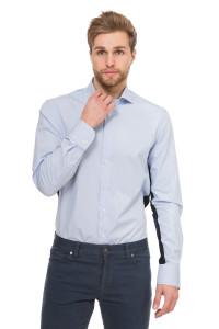 Рубашка мужская светло-голубая с синими вставками van Laack
