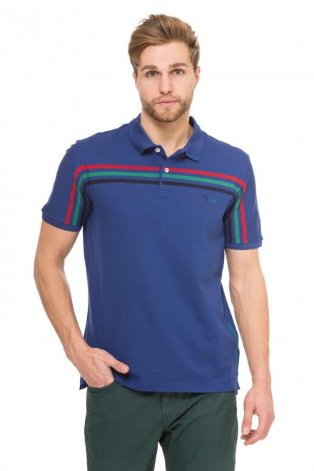 Футболка-поло мужская синяя с разноцветными полосами Harmont & Blaine